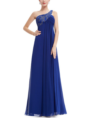 Simple Empire One Shoulder Floor Length Chiffon Evening Dress