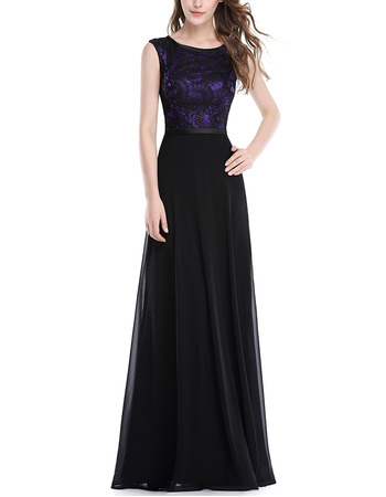 Affordable Sleeveless Long Chiffon Lace Formal Evening Wear Dress