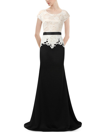 Affordable Long Lace Chiffon Two-Piece Formal Evening Dress with Short Sleeves