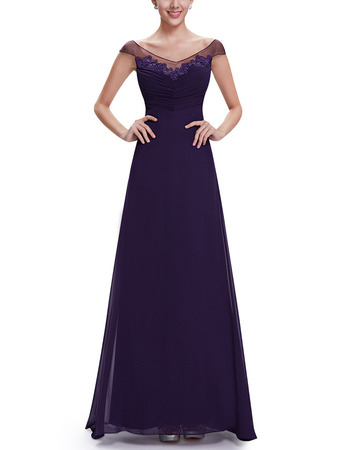 2018 Timeless A-Line V-Neck Floor Length Chiffon Formal Evening Wear Dress