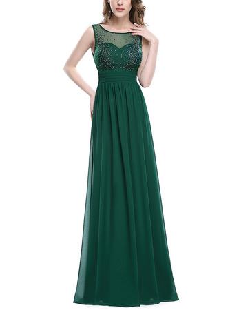 Affordable Sleeveless Floor Length Chiffon Formal Evening/ Prom Dress