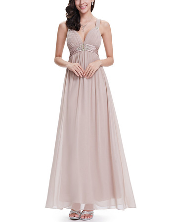 Discount Sweetheart Long Chiffon Formal Evening Wear Dress with Straps
