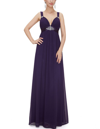 Sexy Sweetheart Long Chiffon Purple Evening Wear Dress with Straps