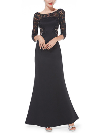 New Satin Long Lace Black Formal Evening Dress with 3/4 Long Sleeves