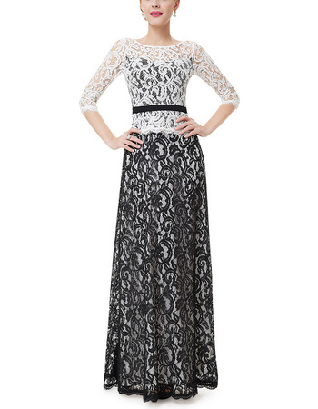 Discount Long Lace Two-Piece Formal Evening Dress with 3/4 Long Sleeves