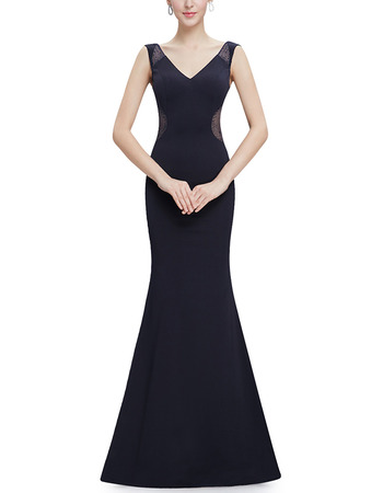 Affordable Sheath V-Neck Sleeveless Floor Length Satin Evening Dress