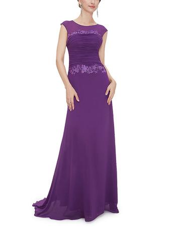Formal Sleeveless Floor Length Chiffon Purple Evening/ Prom Dress