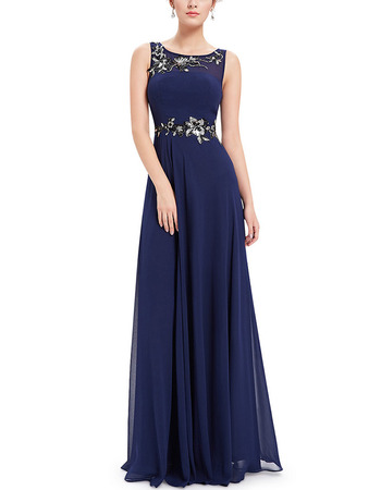 Affordable Sleeveless Long Chiffon Applique Formal Evening Dress
