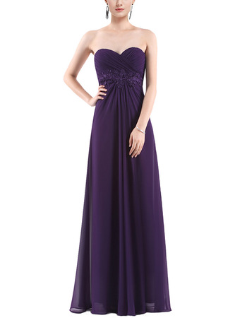 Simple Sweetheart Long Chiffon Purple Formal Evening Party/ Bridesmaid Dress