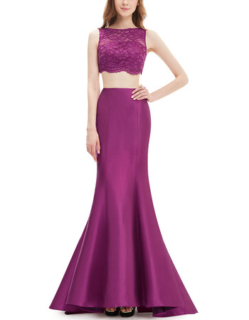 2018 Modest Trumpet Floor Length Lace & Satin Two-Piece Evening/ Night Dress