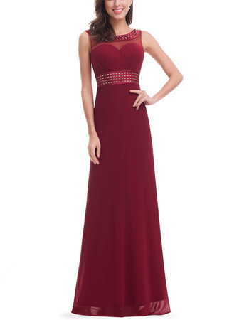 Classic Sleeveless Floor Length Chiffon Formal Evening Wear Dress