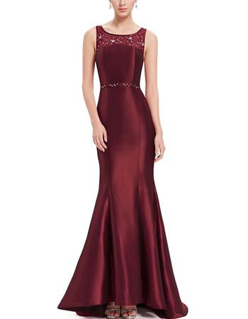 Inexpensive Trumpet Sleeveless Floor Length Satin Evening/ Prom Dress