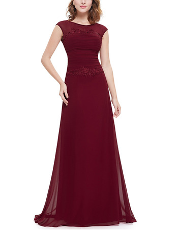 2018 New Style Elegant A-Line Floor Length Chiffon Evening Party Dress