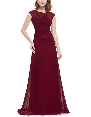 2018 New Style Elegant A-Line Floor Length Chiffon Evening Party Dress