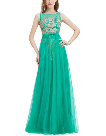 Custom Made A-Line Sleeveless Long Tulle Embroidery Evening Party Dress