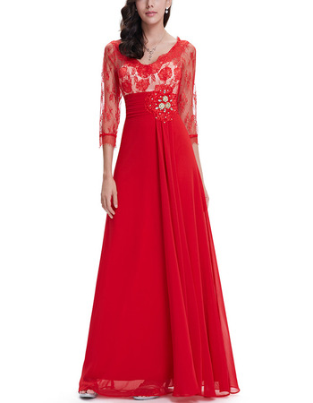 Inexpensive Long Lace Chiffon Evening Dress with 3/4 Long Sleeves