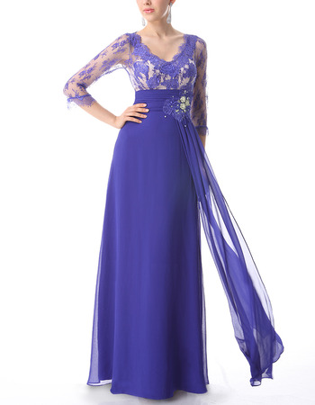 Formal Long Lace Chiffon Evening Dress with 3/4 Long Sleeves