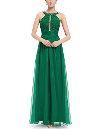 2018 Style Floor Length Chiffon Evening/ Prom Dress with Straps