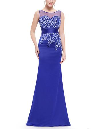 Custom Sheath Sleeveless Floor Length Satin Evening/ Prom Dress