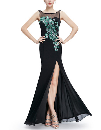 Affordable Sheath Floor Length Chiffon Evening Dress with Slit