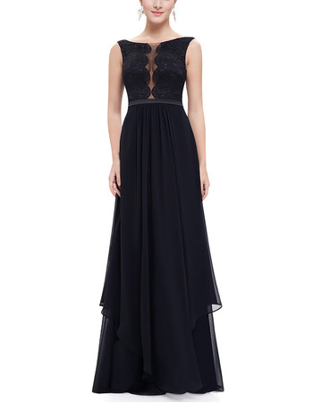 Sexy A-Line Sleeveless Floor Length Chiffon Lace Evening Dress