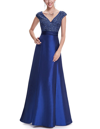 2018 New Style A-Line V-Neck Floor Length Taffeta Evening Dress