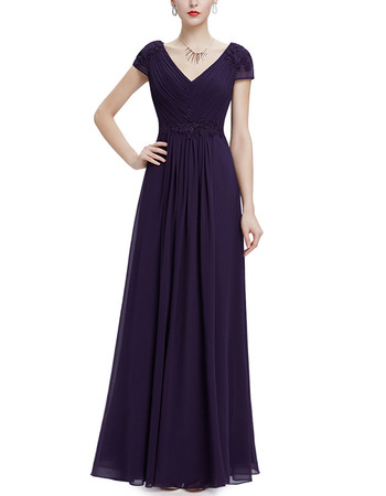 Custom V-Neck Floor Length Chiffon Evening Party Dress with Short Sleeves