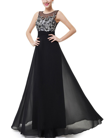 Inexpensive Long Chiffon Formal Evening/ Prom Dress with Applique