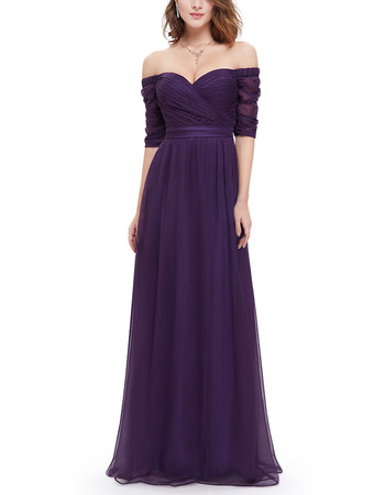 Timeless Sweetheart Long Chiffon Formal Evening Dress with Half Sleeves