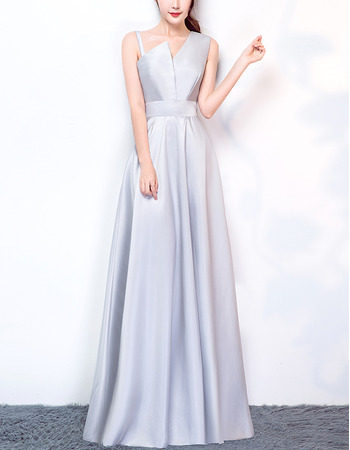 2018 New Style Asymmetric Long Satin Formal Evening Dress