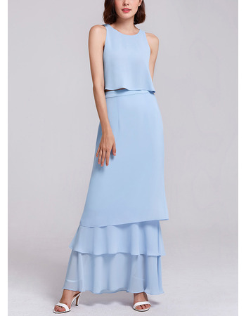 Elegant Empire waist Sleeveless Long Chiffon Two-Piece Formal Evening Dress