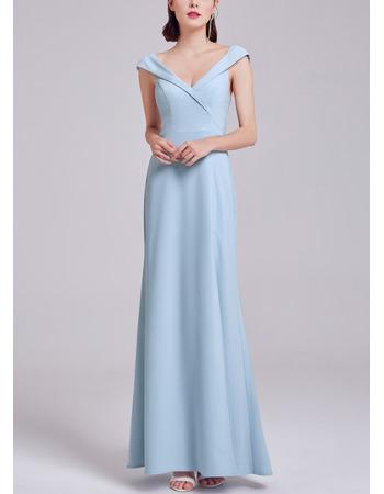 2018 New Style V-Neck Floor Length Satin Formal Evening Dress with Slit
