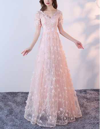 2018 Beautiful V-Neck Floor Length Lace Formal Evening Dress with Short Sleeves
