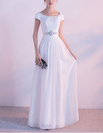 Elegant Floor Length White Chiffon Evening Dress with Short Sleeves