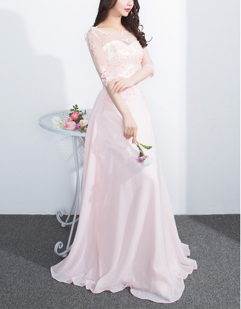 Designer Full Length Chiffon Formal Evening Wear Dress with Half Sleeves