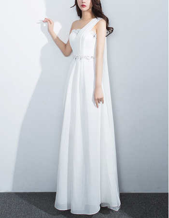 Women's Elegant One Shoulder Sleeveless Long Chiffon Formal Evening Dress