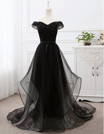 2018 Classy Off-the-shoulder Sweep Train Long Black Formal Evening Wear