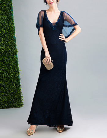 Elegant Sheath V-Neck Floor Length Lace Formal Evening Dress with Shawl