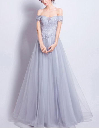 2018 Inexpensive A-Line Off-the-shoulder Floor Length Formal Evening Dress