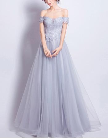 2018 Inexpensive A-Line Off-the-shoulder Floor Length Formal Evening Dress