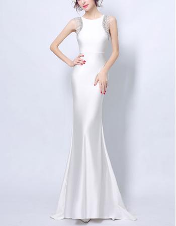 Elegant Sheath Sleeveless Long White Satin Formal Evening Dress