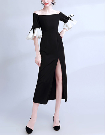 Inexpensive Off-the-shoulder Tea Length Black Formal Evening Dress with Short Sleeves