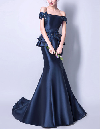 2018 Designer Off-the-shoulder Long Satin Formal Evening Dress