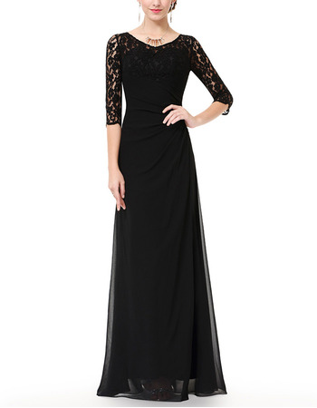 Inexpensive Designer Long Chiffon Black Formal Mother Dress with Half Lace Sleeves