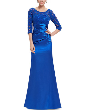 2018 Stylish Blue Long Satin Formal Mother Dress with 3/4 Long Lace Sleeves