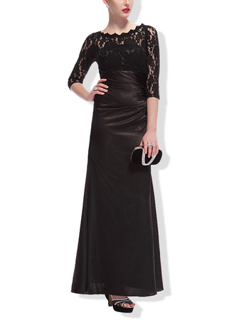 Modern Full Length Black Formal Mother Dress with 3/4 Long Lace Sleeves
