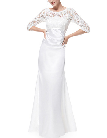 Modest Designer Full Length Satin Formal Mother Dress with 3/4 Long Lace Sleeves