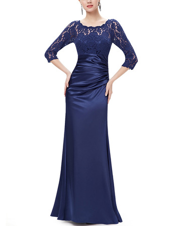 Elegant Full Length Satin Formal Mother Dress with 3/4 Long Lace Sleeves