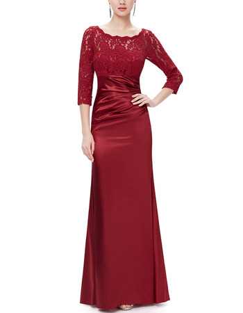 Classy Full Length Satin Formal Mother Dress with 3/4 Long Lace Sleeves
