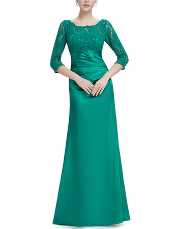 2018 Stylish Long Satin Formal Mother Dress with 3/4 Long Lace Sleeves